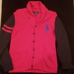 Big horse polo cardigan sweater